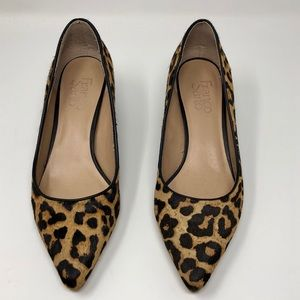 Franco Sarto Calf Hair Leopard Block Heel Pump